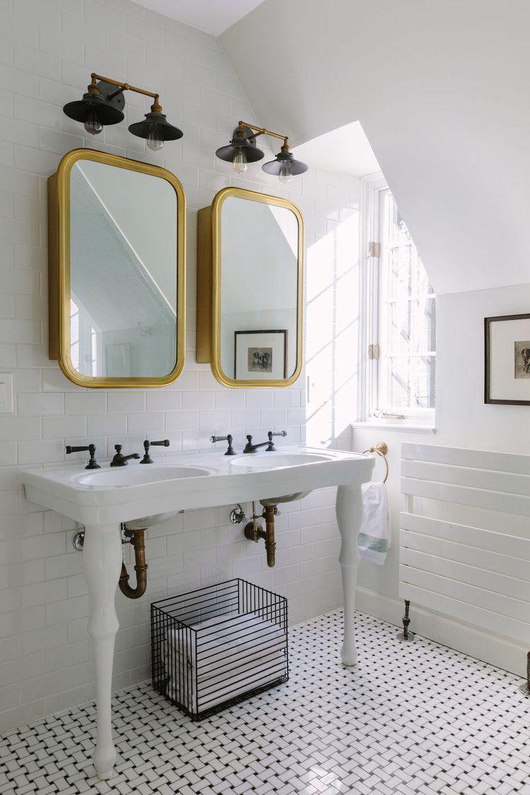 Chicago Interior Designer White Bathroom Pottery Barn Pedestal