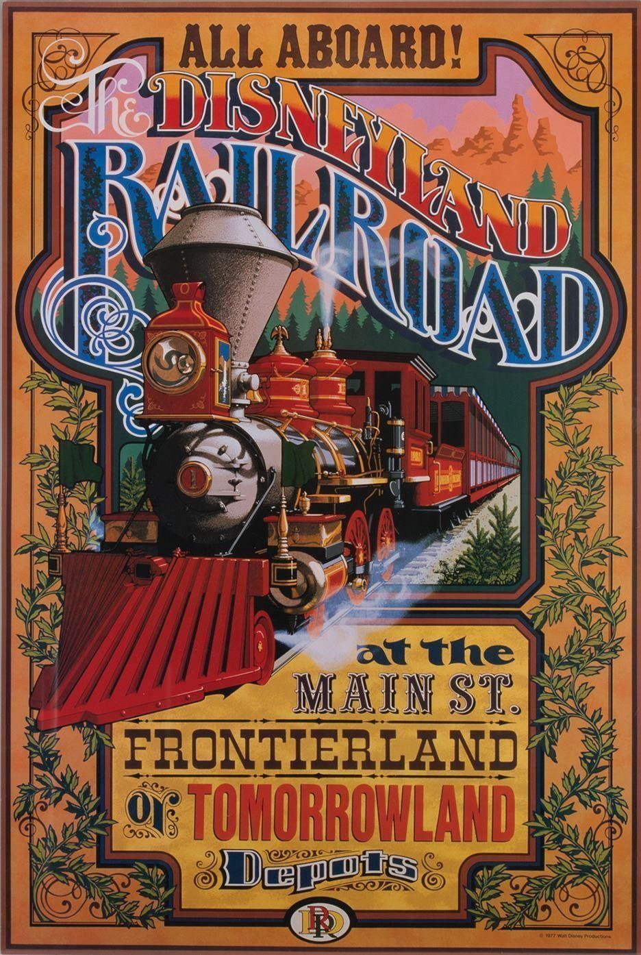 Disneyland Railroad Attraction Disneyland Vintage Poster