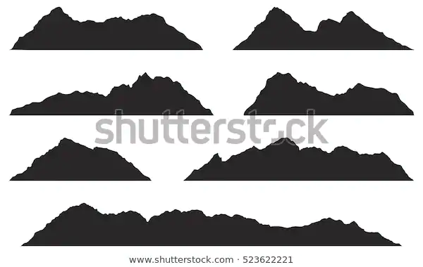 Mountains Silhouettes On White Background Vector Stock Vector Royalty Free 523622221 Mountain Silhouette Silhouette White Background