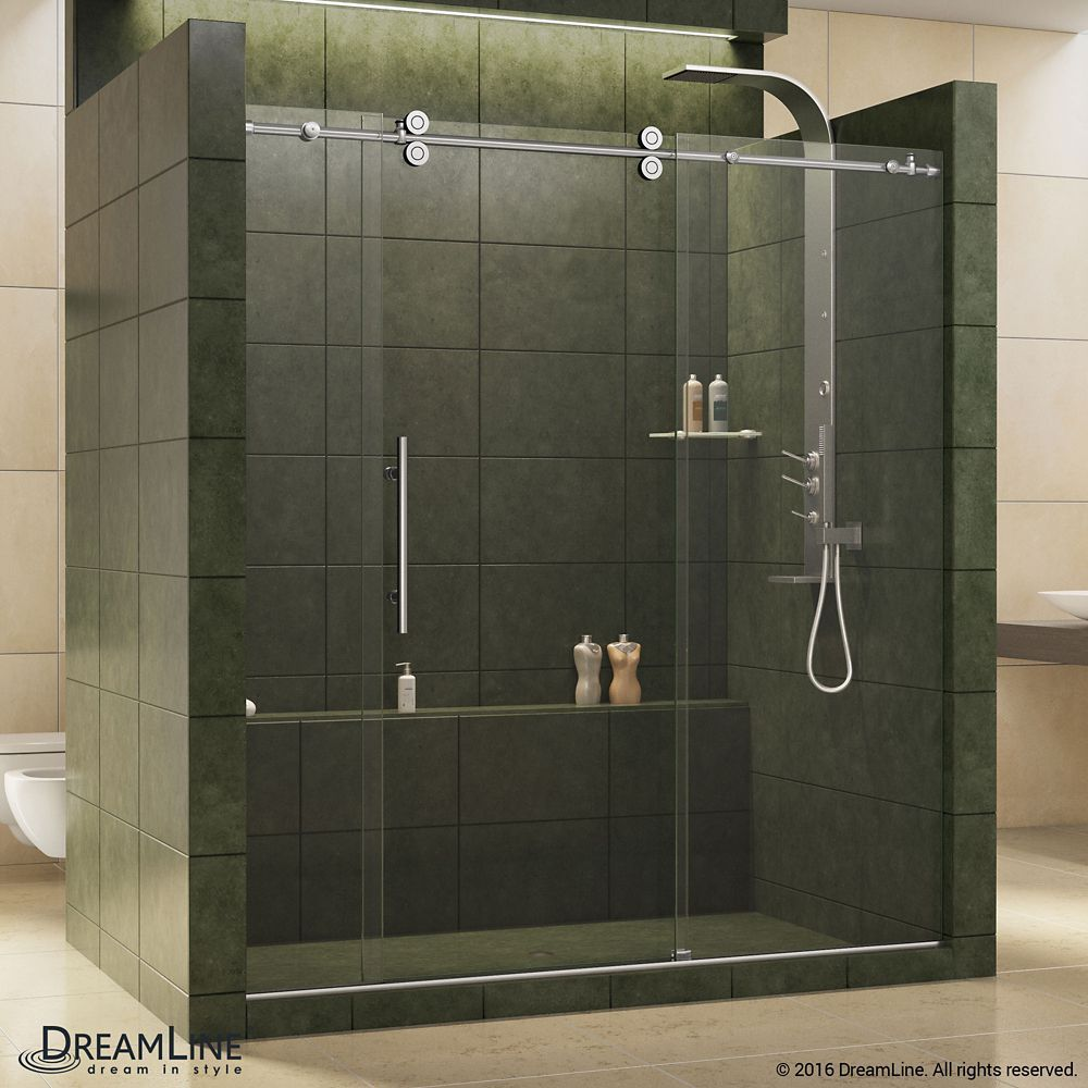 Enigma 68 Inch To 72 Inch X 79 Inch Frameless Sliding Shower Door In Polished Stainless Steel And 1 2 Inch Exclusive Glass In 2020 Shower Doors Frameless Shower Doors Frameless Shower Enclosures