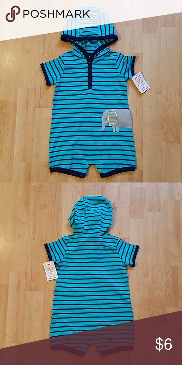 691a96cd0 Carters Just One You hooded Elephant Henley Romper Just One You made by  Carter's romper Hooded Short sleeves Snap button Henley Size 6M 100% Cotton  New with ...
