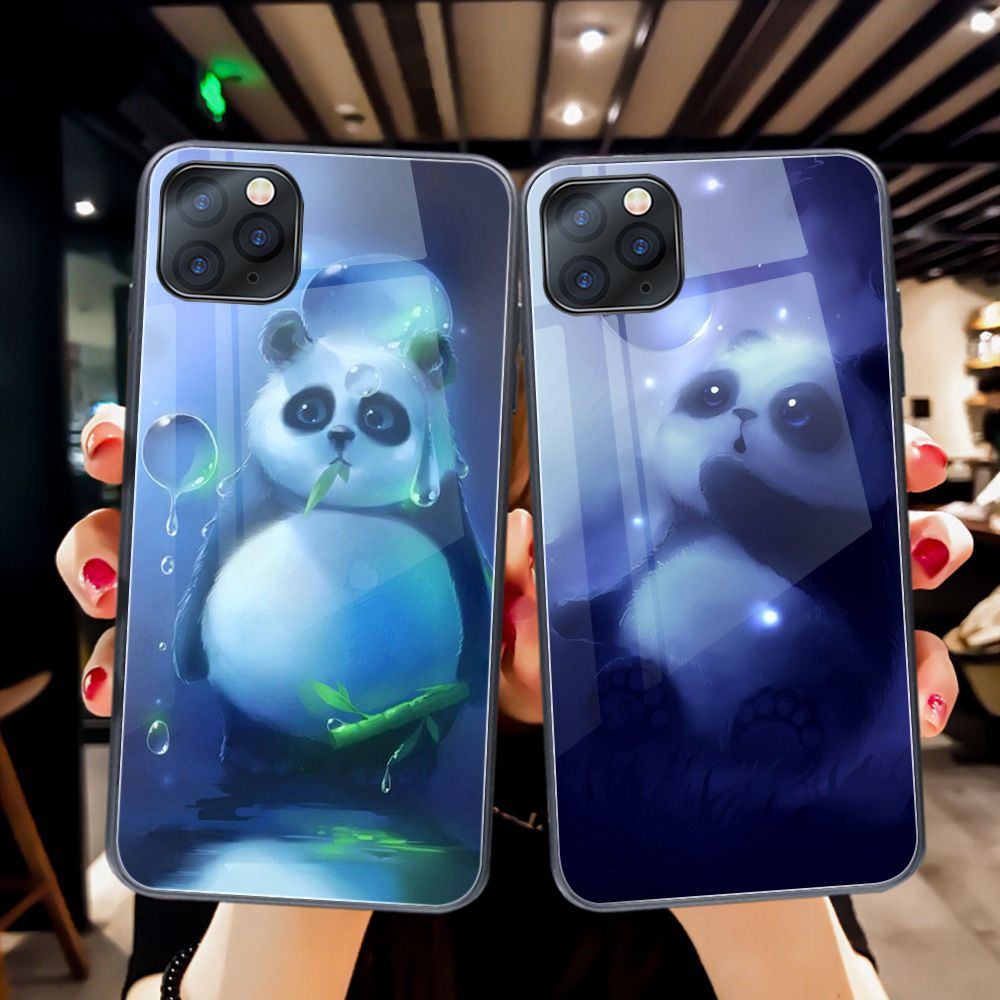 ciciber Cartoon Animal Panda Phone Case for iphone 11 Pro Max 7 8 6 6S Plus Tempered Glass Cover for