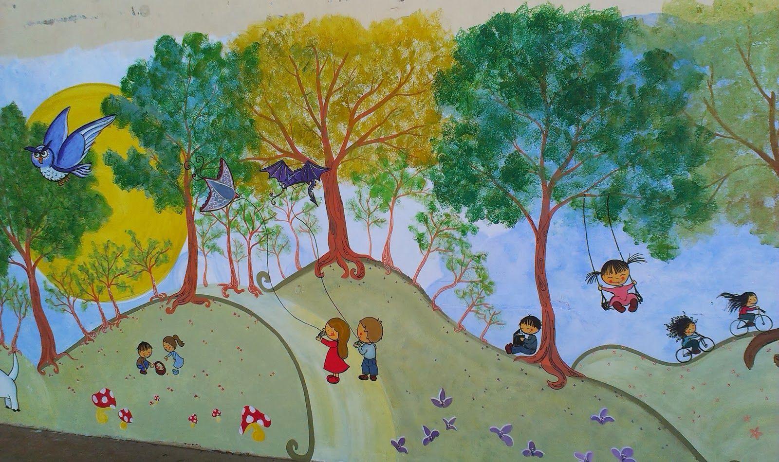 pintura mural para niños: soñando despiertos para un colegio ...