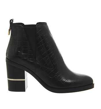 Office Illusion Block Heel Chelsea Boot Black Croc Embossed Leather Gold  Heel - Ankle Boots