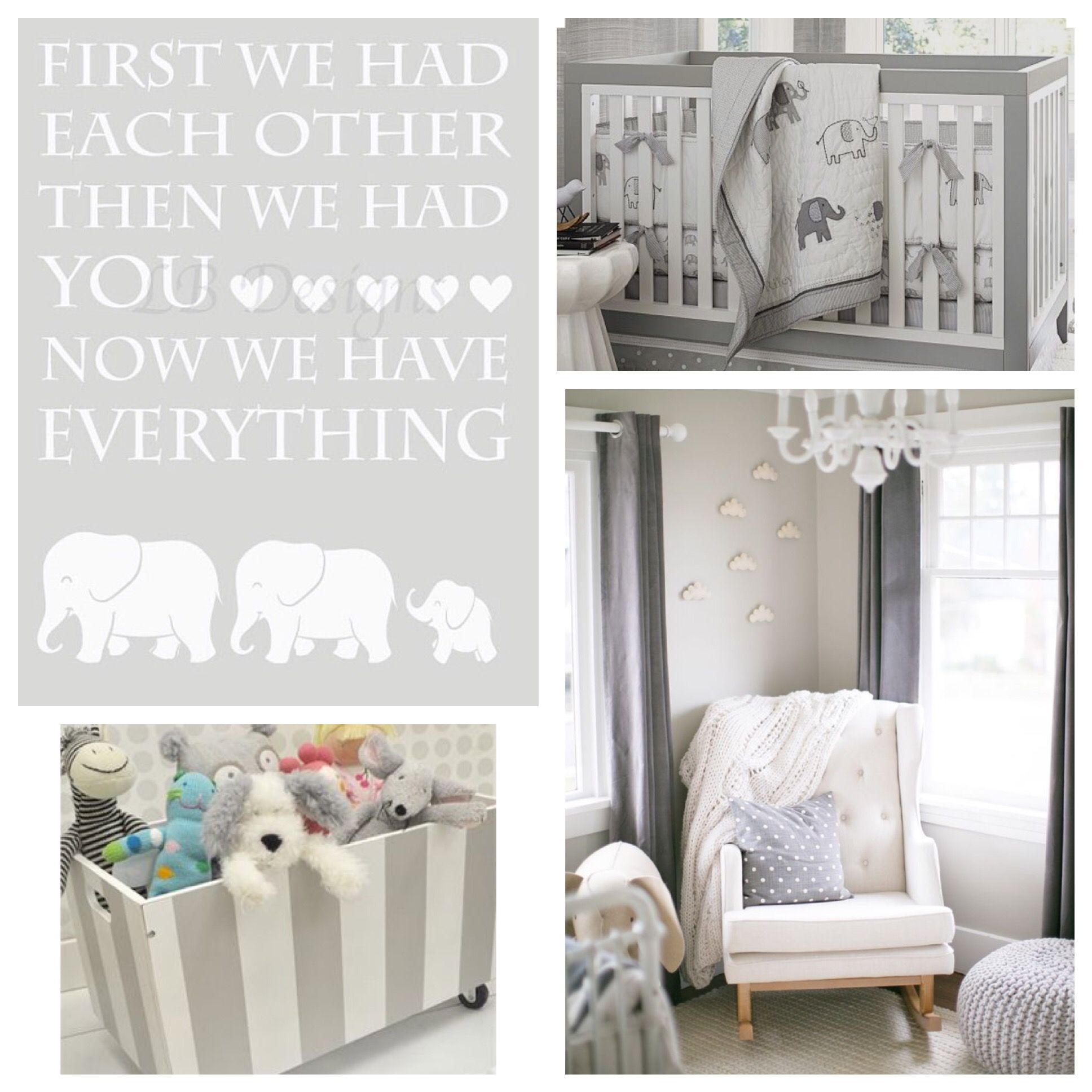 Gender Neutral Nursery Gray Nursery Decor Elephant Nursery Decor