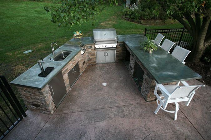 Concrete Countertops In Outdoor Kitchen Modernconcreteomaha With Images Outdoor Bbq Outdoor Furniture Sets Patio Bar