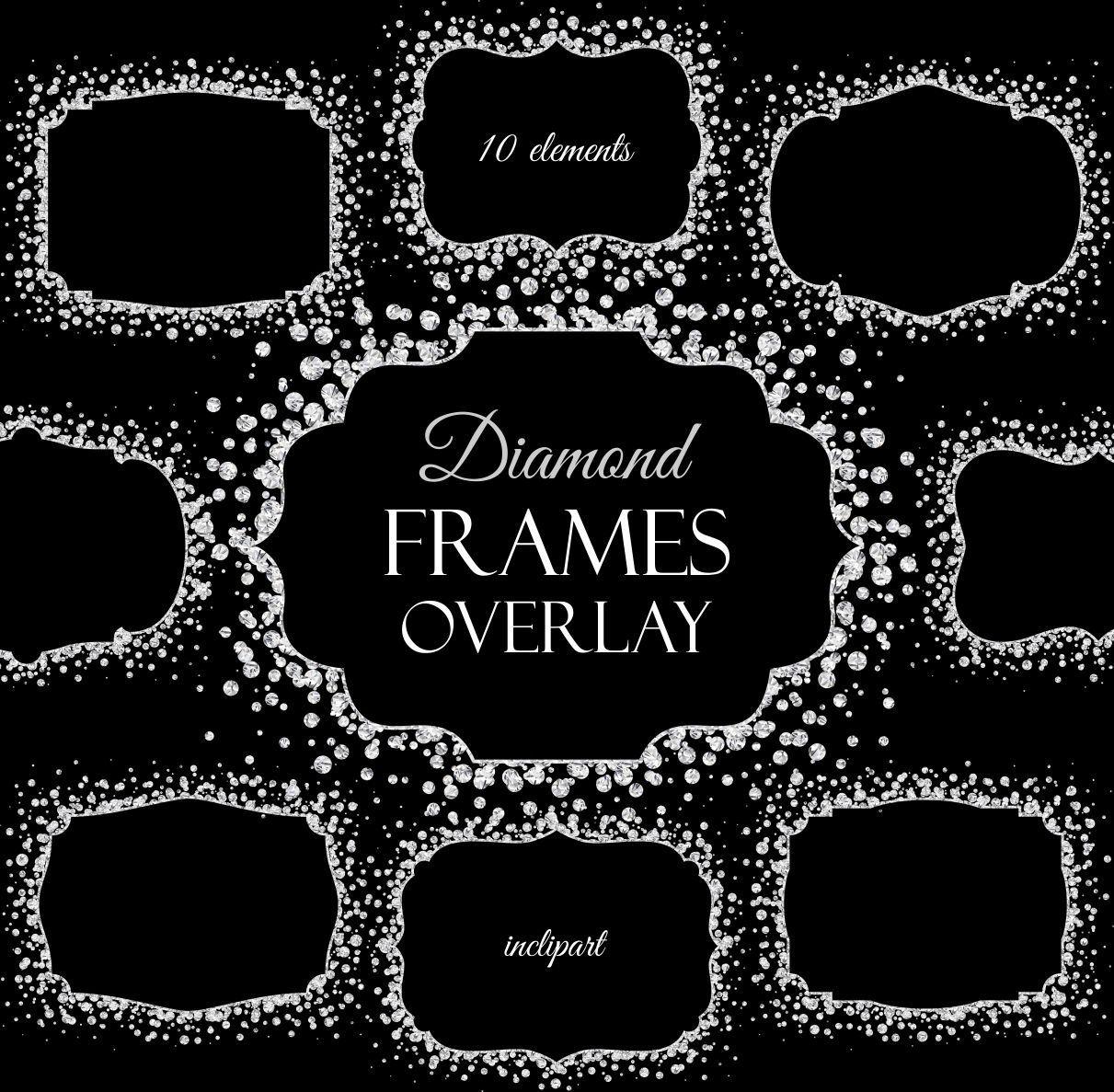 Diamond Frames overlay clipart. Digital Sparkle frames clipart ...