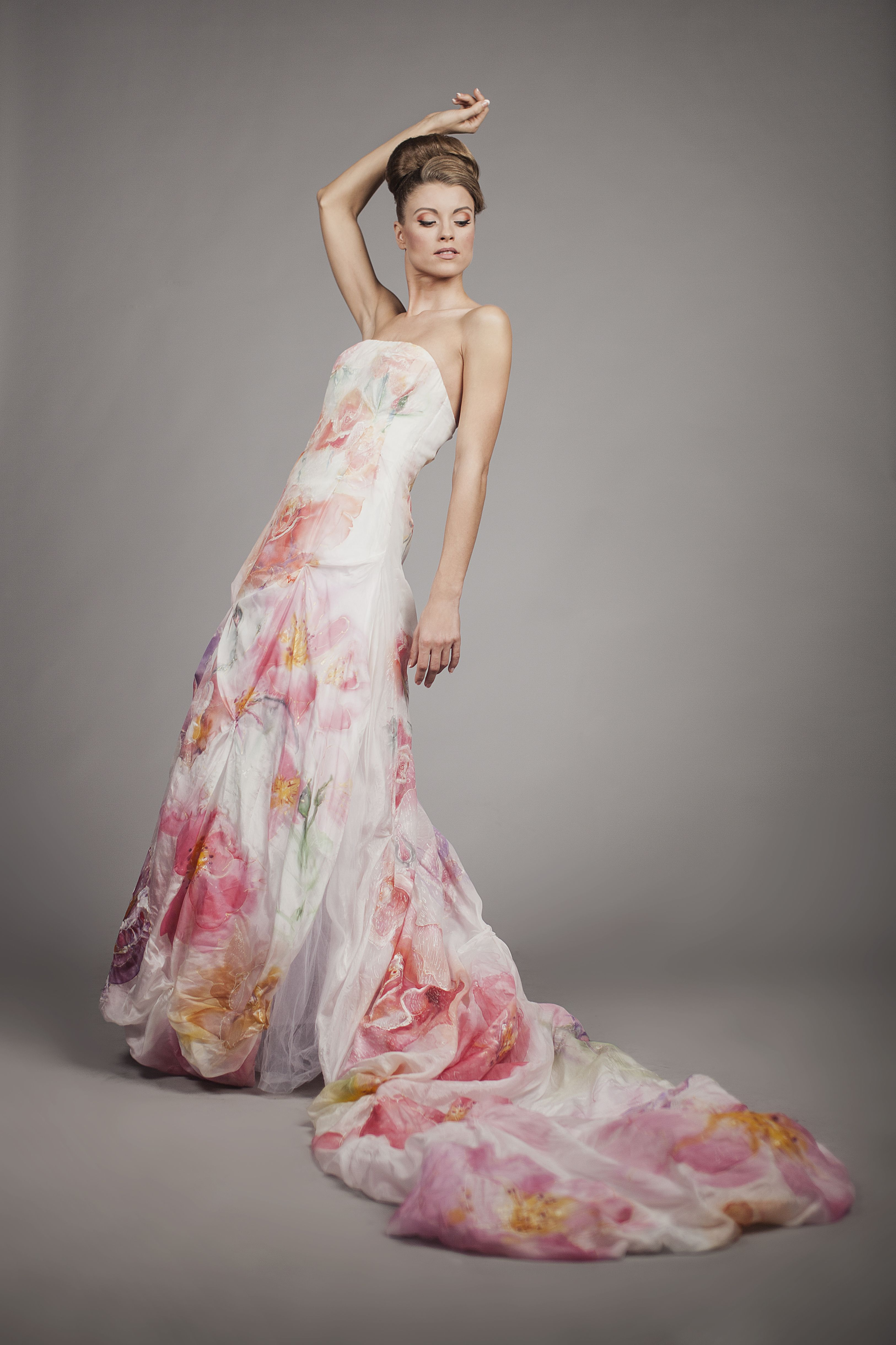 Hand Painted Silk Wedding Dress Exudes Elegance And Romance Is Created For A Bride Who