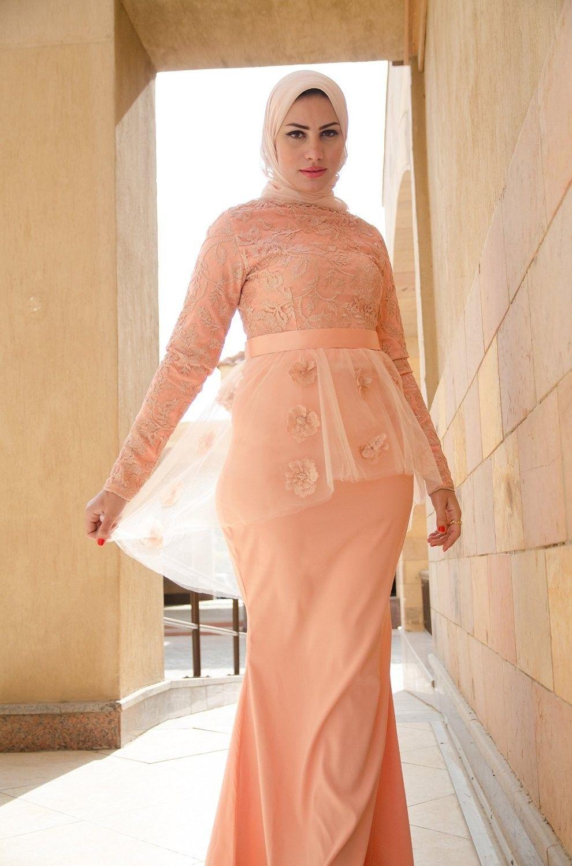 Save on timeless hijab long sleeve floor length bridal dress for