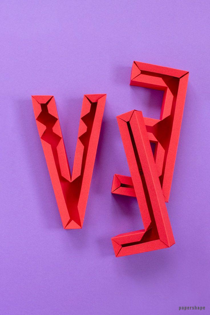 3d LOVE Schriftzug basteln mit Papier (kostenlose Vorlage