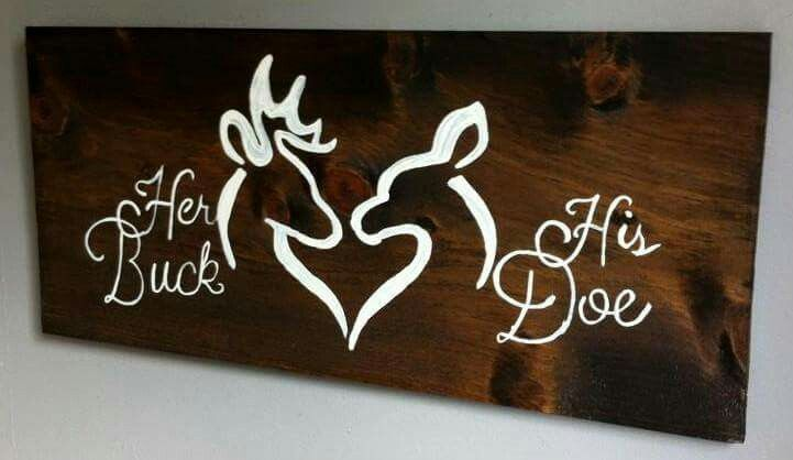 Her Buck His Doe Home Is Where The Heart Is Wood