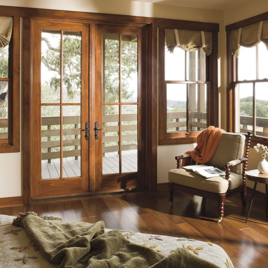 Pella Architect Windows Early American Wood Finish Interior Cranberry Exterior Wooden Window Design French Doors Patio Replacement Patio Doors