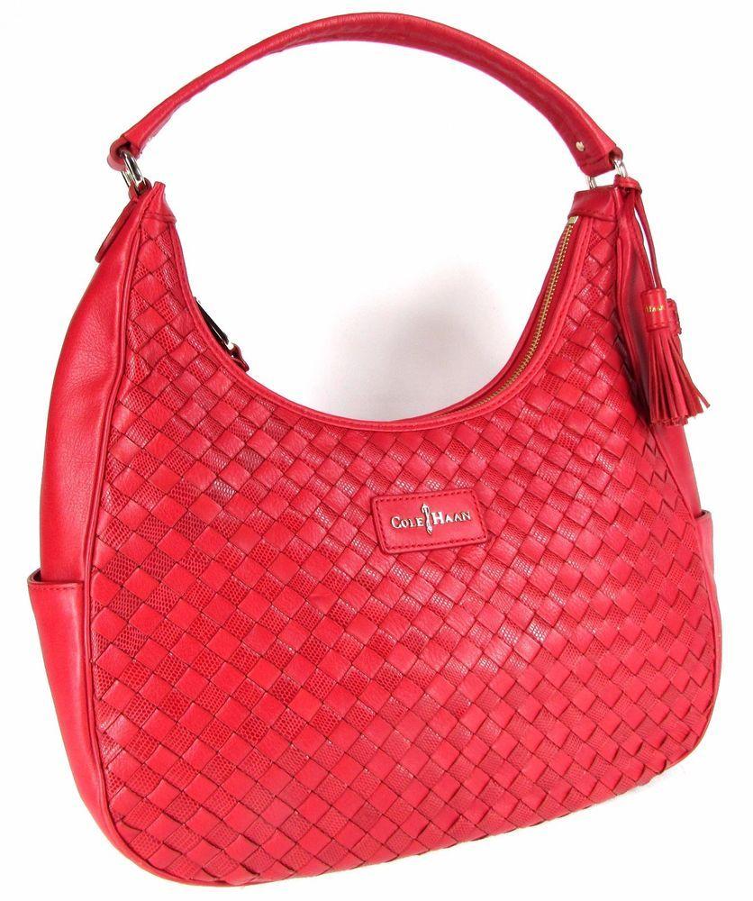 Cole Haan Red Woven Leather Hobo Handbag Purse New Colehaan
