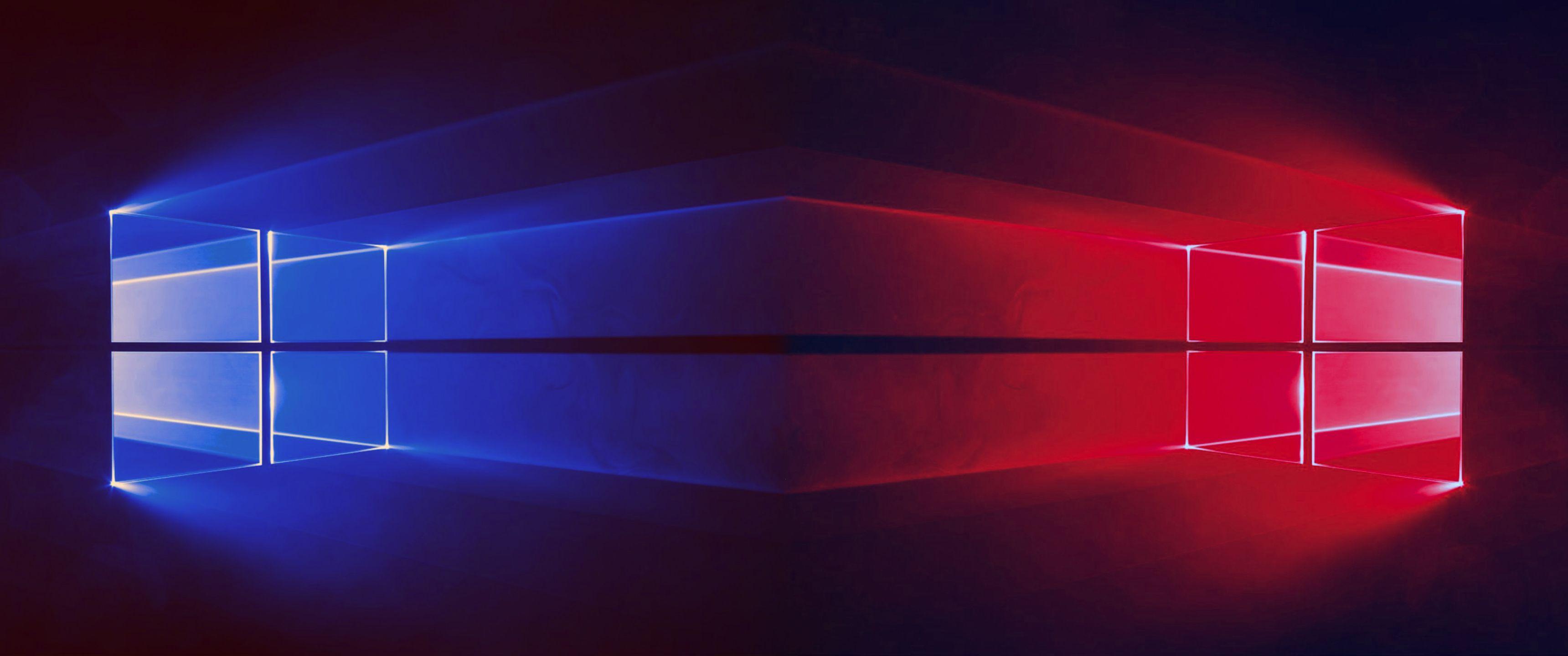 Windows 10 - 2 Windows Blue & Red - 3440x1440 | wallpaper in 2019 | Windows 10, Wallpaper ...