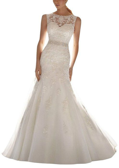 HoneeyGirl Latest Sleeveless Lace Appliques Mermaid Tulle Bridal Dress Wedding Gown white 8