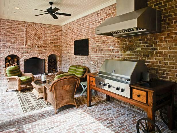 Outdoor Bbq With Hood With Brick Background Ceiling Fan In Kitchen Home Outdoor Kitchen