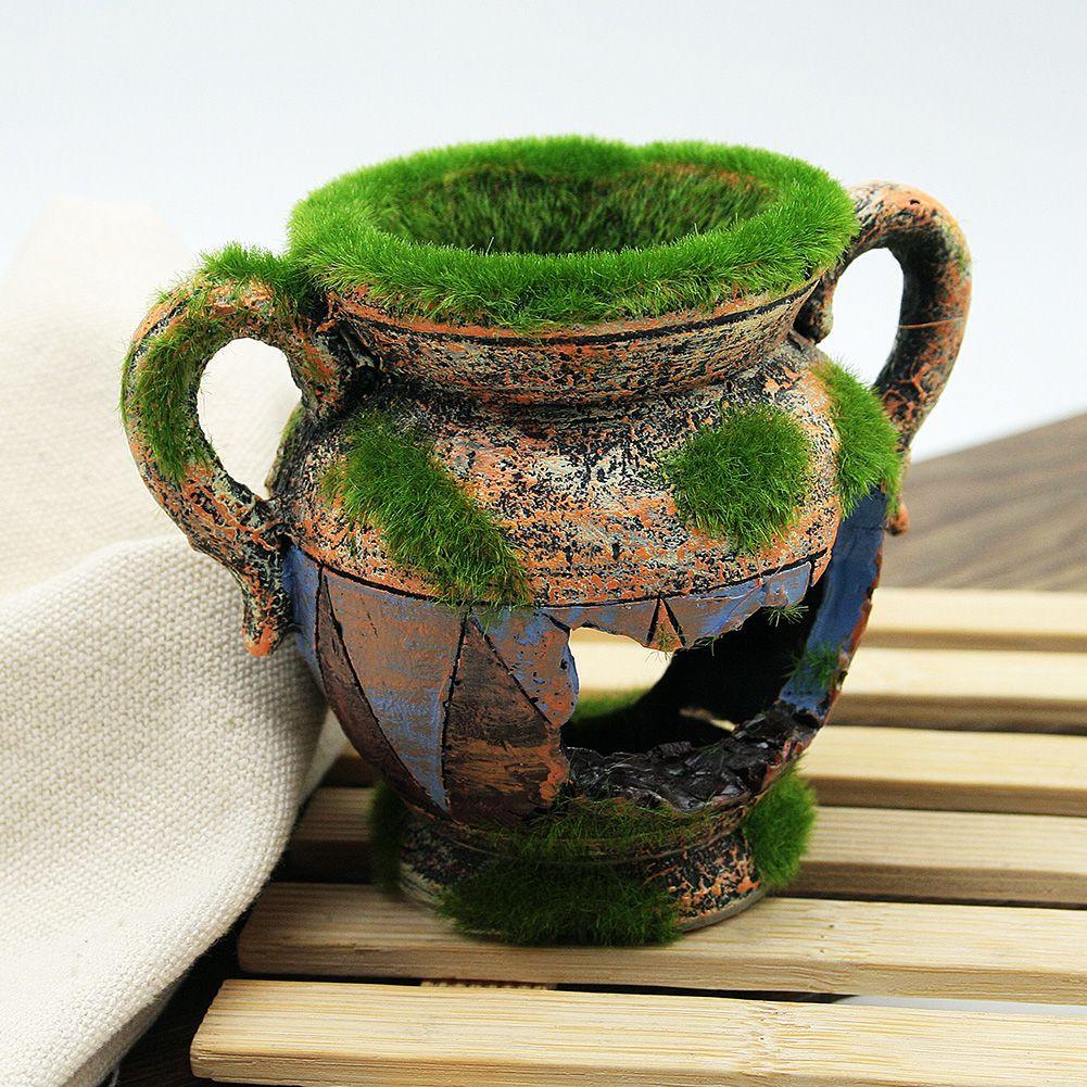 Resin Vase With Moss Aquarium Ornaments Fish Tank //Price