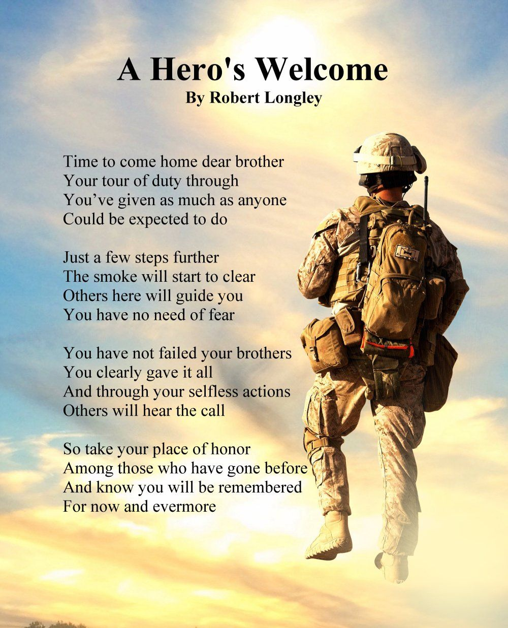A Hero S Welcome Army Version 2 Memorial Poem Echoes