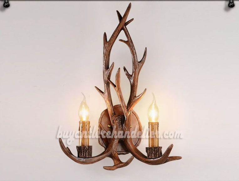 2 Cast Elk Deer Antler Wall Sconces Corridor Lamps Candelabra Rustic Lighting Fixtures Antique Mount Decor