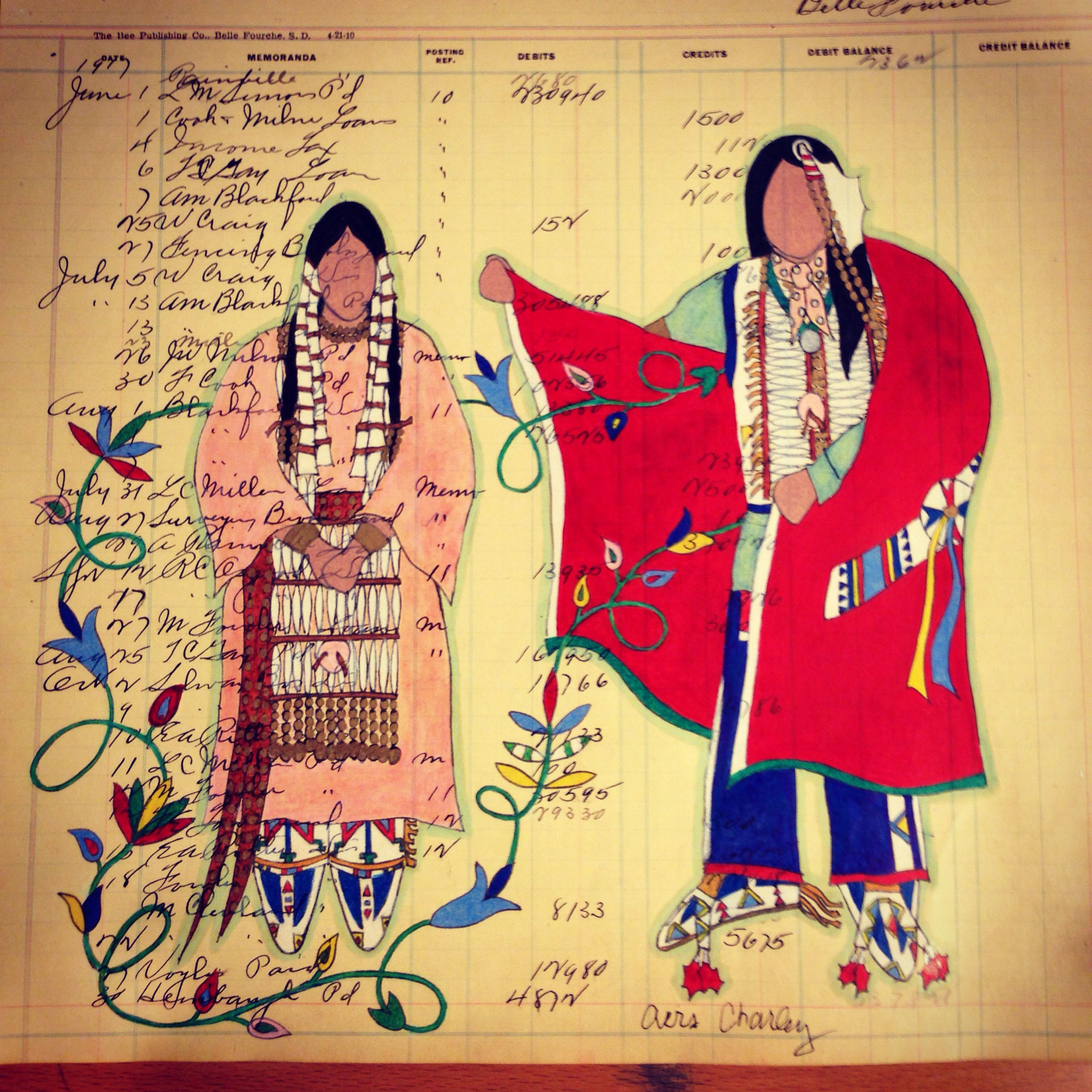"""Ledger Art by Avis Charley. """"Come Hither"""" depicts a courting scene."""