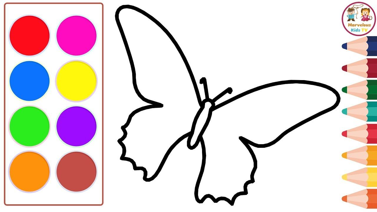 Draw And Color Butterfly Educational Video For Kids And Toddlers Draw Toddler Drawing Educational Videos Toddler Learning