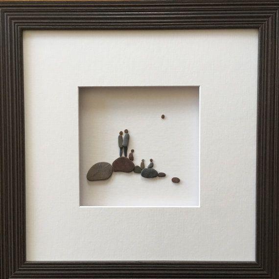 12 by 12 framed pebble art with family of 5 by sharon nowlan kieselbilder kunst kiesel und - Steinbilder auf leinwand ...