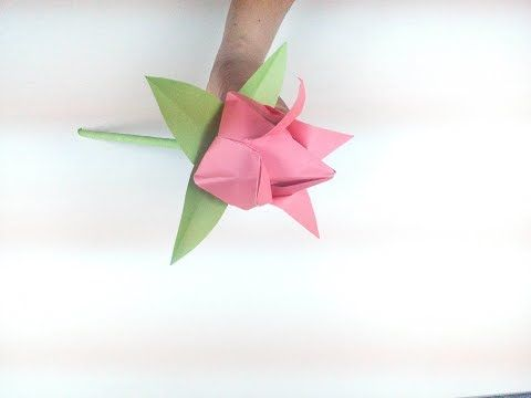 Origami flower how to make a beautiful paper tulip flower with stem origami flower how to make a beautiful paper tulip flower with stem and leaf step mightylinksfo