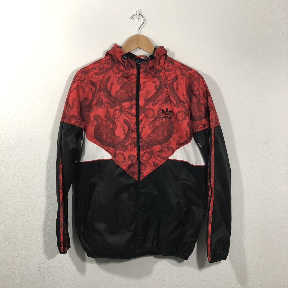 Adidas Originals Rgb Colorado Windbreaker Trefoil Jacket Red Black Skeleton Med Fashion Clothing Shoes Accessories Menscl Red Jacket Black And Red Jackets