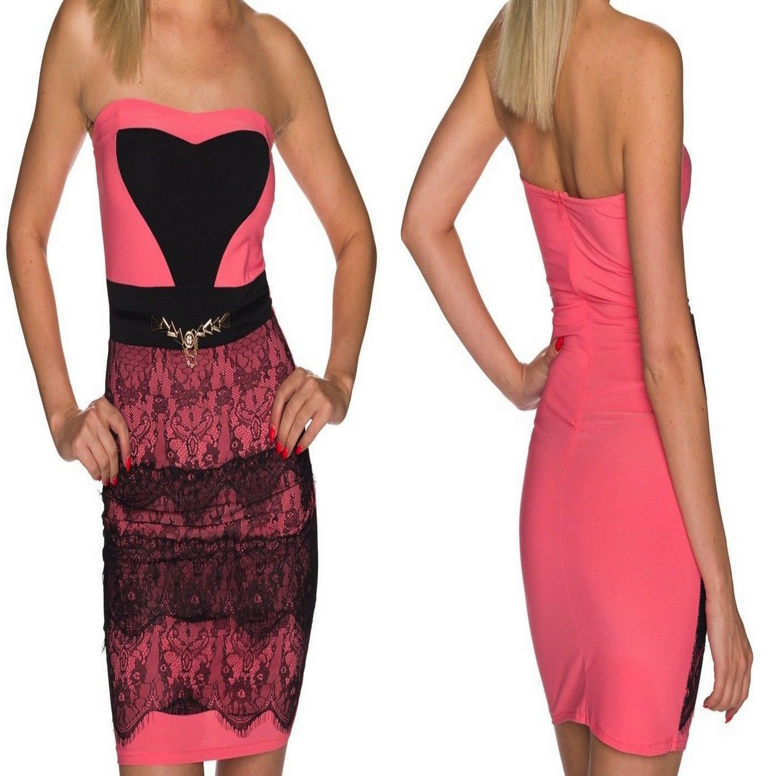 d803a5c019 SEXY WOMENS PINK STRAPLESS BODYCON MINI DRESS WITH BLACK CONTRASTING LACE  LACING
