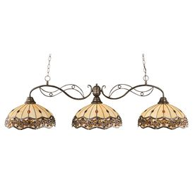 Brooster 16 in w 3 light bronze kitchen island light with tiffany divina w bronze kitchen island light with tiffany style shade workwithnaturefo