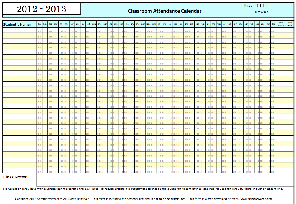 Monthly Calendars  Current Year  Classroom Attendance