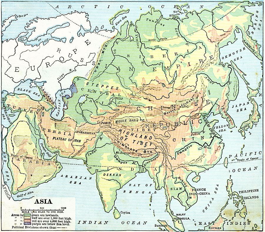 Land elevations of asia 1906 maps pinterest division land elevations of asia gumiabroncs Image collections