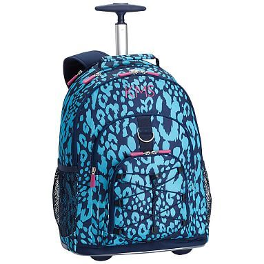 Gear Up Bright Blue Cheetah Rolling Backpack Backpacks Bags