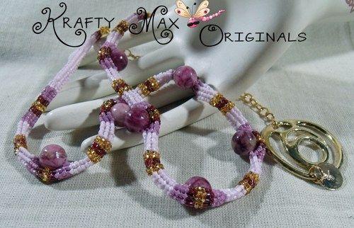 Rose Gemstone and Delica Handmade Beadwoven Necklace  | KraftyMax - Jewelry on ArtFire