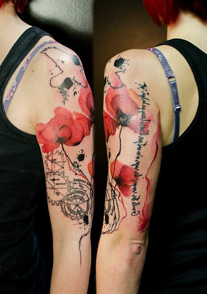 Watercolor Tattoos On Arm 2 Jpg 676 959 Sleeve Tattoos