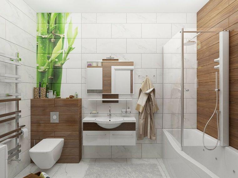 Come arredare un bagno mobile bianco inserti in legno sospeso