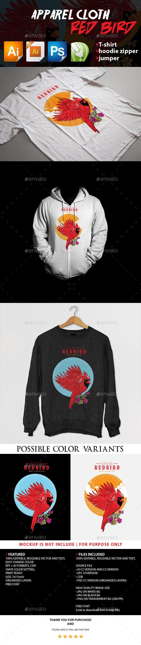 Download Red Bird Apparel Cloth Clothing Logo Human Logo Inspiration Shirt Print Design