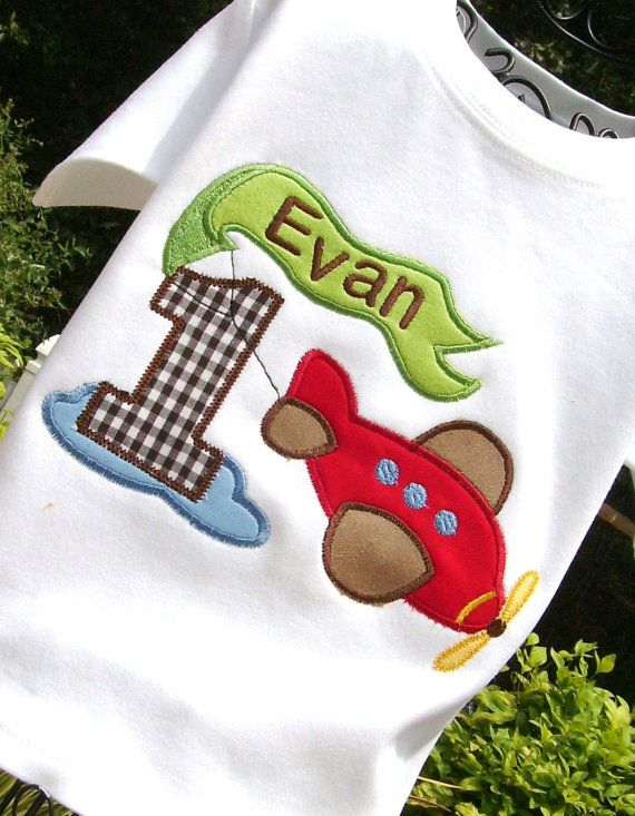 d0ec67c5e idea for EZ's birthday shirt. Boys Appliqued Airplane with Age Tee by  lilshabebe on Etsy, $21.95