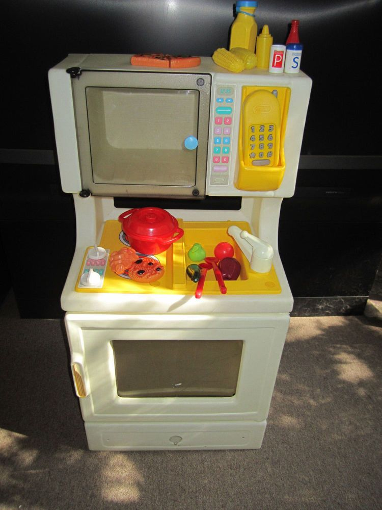 Vintage Little Tikes SINK/STOVE/OVEN-MICROWAVE-TELEPHONE KITCHEN w/Food/Dishes #LittleTikes