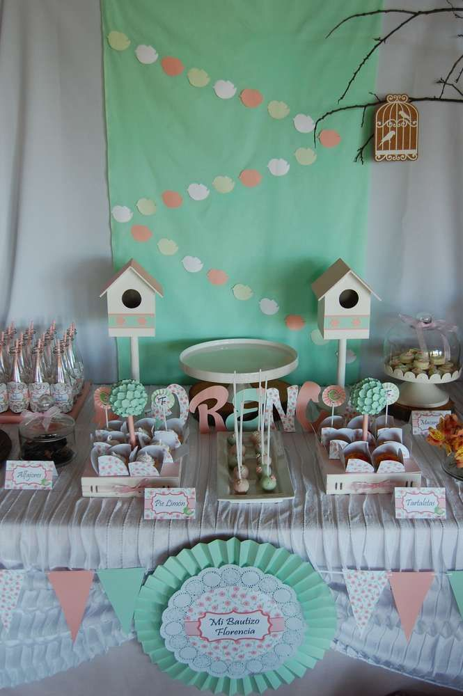 The Dessert Table At This Shabby Chic Baptism Is Gorgeous See More Party Ideas And Share Yours Catchmyparty