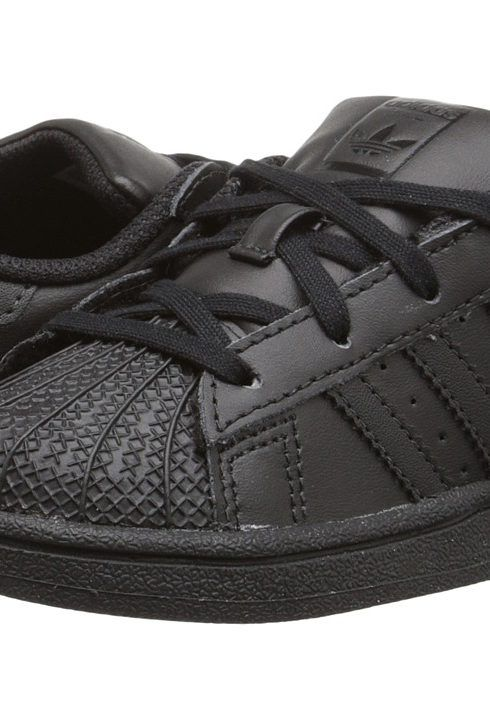 uk availability 8bdb7 ea123 adidas Originals Kids Superstar (Infant Toddler) (Black Black Black)