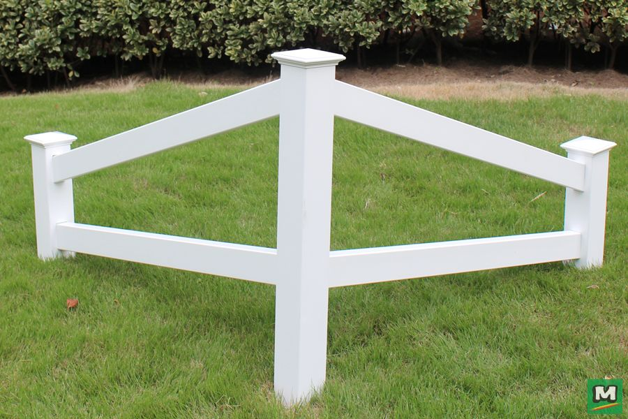For A Better Garden Display Try This White Two Rail Corner Fence Made With Weather Resistant Vinyl This Simple Str Amazing Gardens Vinyl Fence Small Gardens