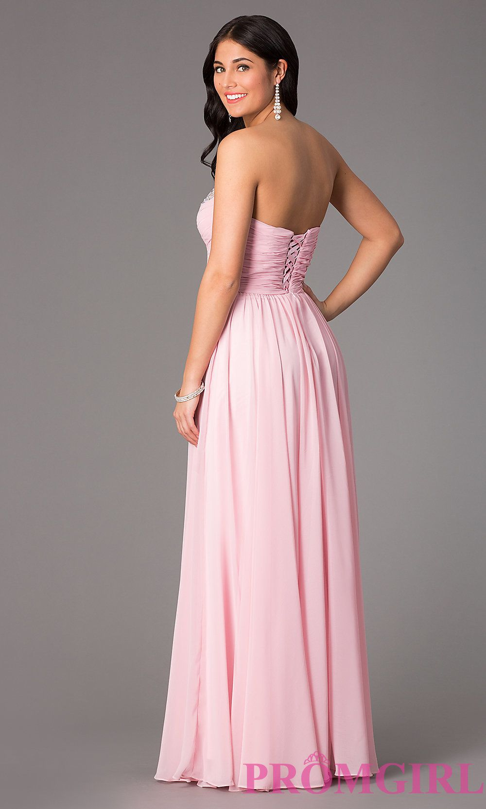Long beaded strapless corset ball gown