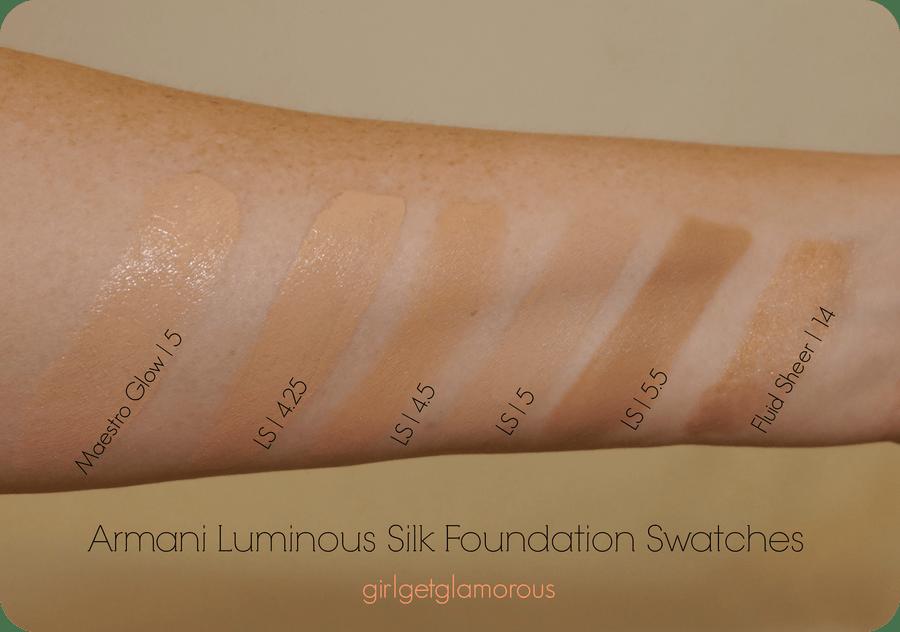 Giorgio Armani Luminous Silk Foundation Swatches 4 25 4 5 5 5 5 G Foundation Swatches Luminous Silk Foundation Armani Luminous Silk Foundation Shades