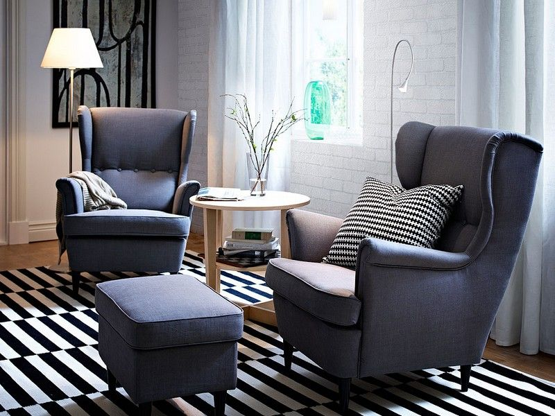 Winged Ikea Grey Armchairs Perfect For Morning Or Evening Reading Monochrome Light And Airy Arm Chairs Living Room Living Room Chairs Home Living Room