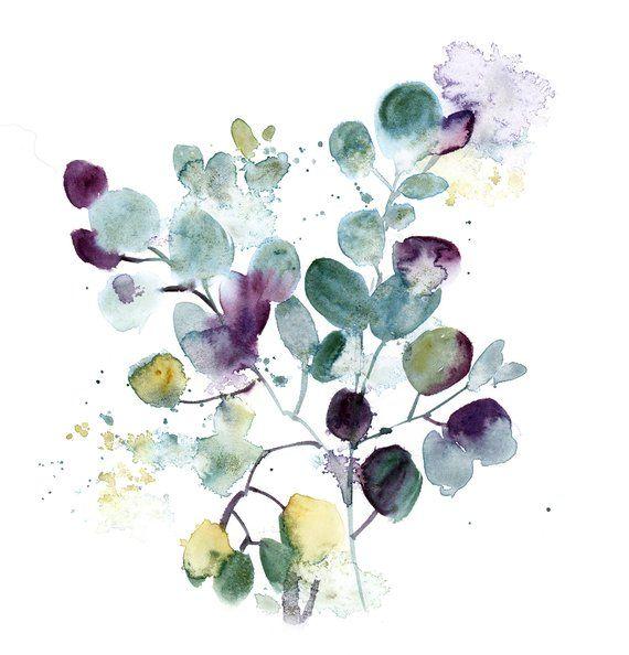 Eucalyptus Leaves Art Print, Botanical Watercolor Painting Art, Eucalyptus Leaves Green Violet Wall Fine Art Print