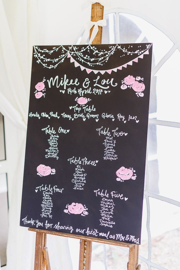 Wedding seating plan written on chalk board in soft pink and white letters | fabmood.com #weddingdetails #chalkboard #weddingseatingplan #seatingchart