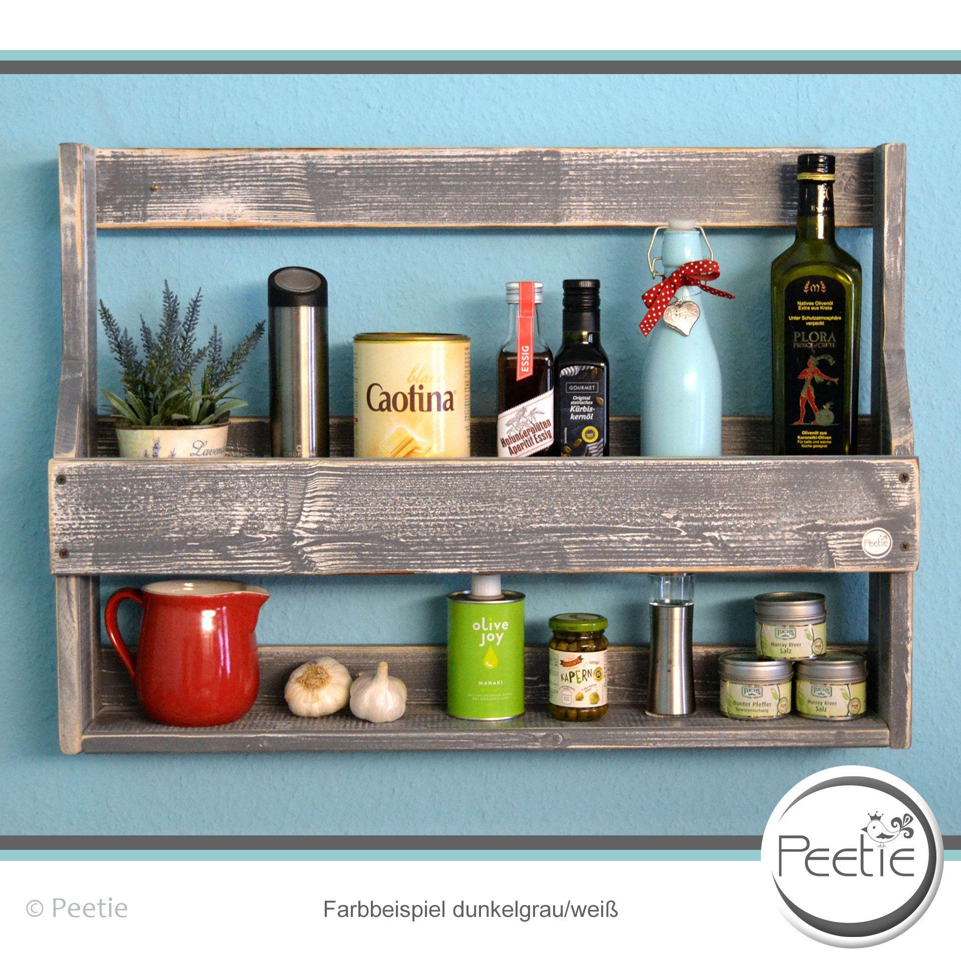 Vintage Shabby Spice Rack Kitchen Shelf Individually Dark