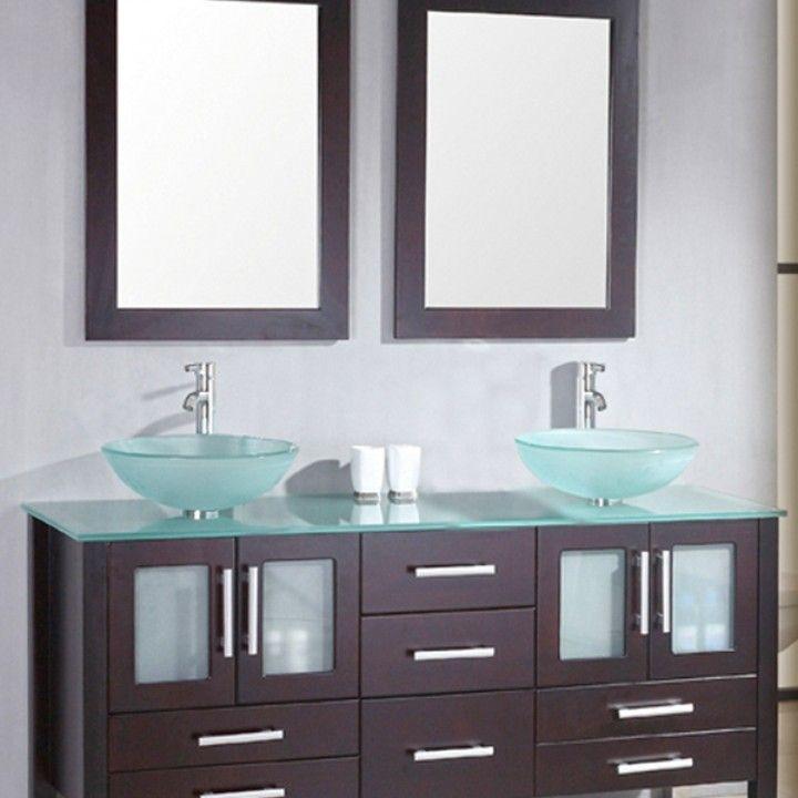 63 Inch Wood Glass Double Sink Bathroom Vanity Set 08119b Emerald Bathroom Vanity Designs Double Vanity Bathroom Modern Bathroom Vanity