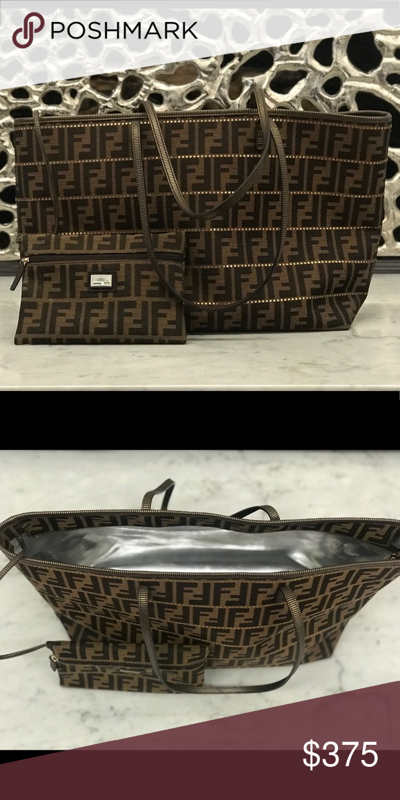 77368531325 Authentic Fendi Zucca Monogram Canvas Tote This Fendi monogram tote can  carry it all without being